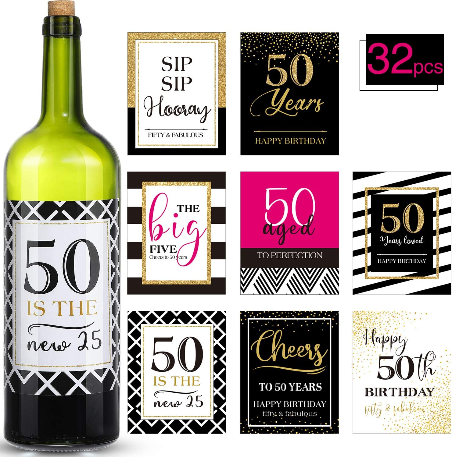 32 Pieces 50th Birthday Party Wine or Beer Bottle Labels Stickers 50th Birthday Decor for 50th Birthday Party Supplies