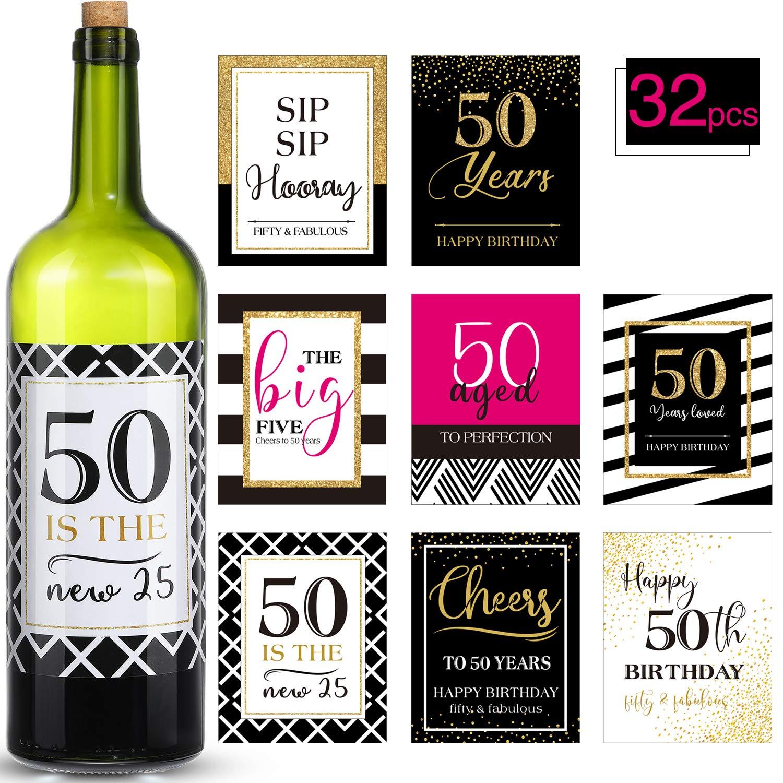 Etiquetas de Botella de Vvino de Cumpleaños 50 o Pegatinas ...