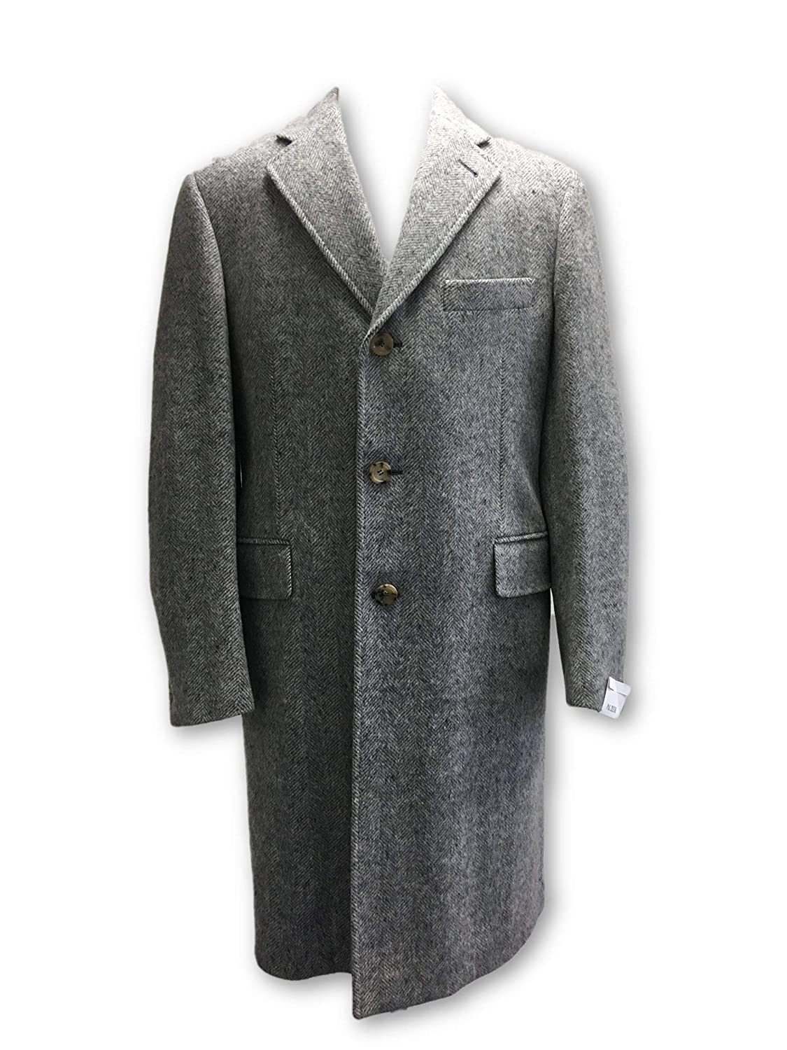 Pal Zileri Wool Overcoat in Grey Herringbone Size 40R Wool: Amazon.es: Ropa y accesorios