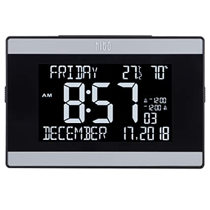 "hito 9.5"" Mains Powered Large Digital Desk Clock Wall Auto Dimmer 7:00pm-"