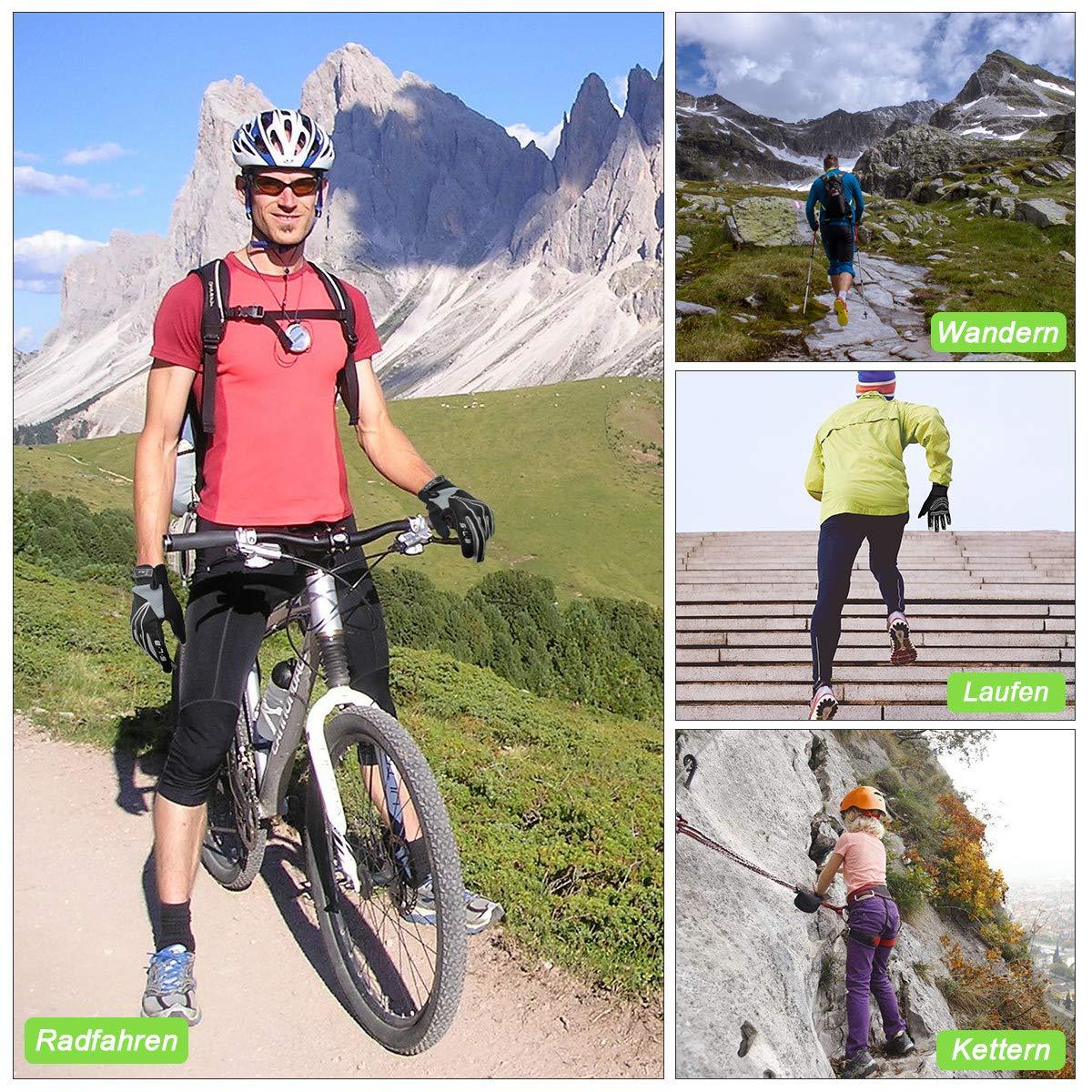 Fahrradhandschuhe Herren Radsporthandschuhe Rutschfeste und Stoßdämpfende Mountainbike Handschuhe mit Touchscreen Finger für Radsport MTB Road Race Downhill Wandern und andere Sports Unisex (Grau, M)