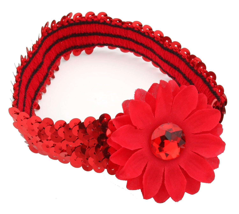 Zest Red Sequinned Girls Headband with Gerbera Flower