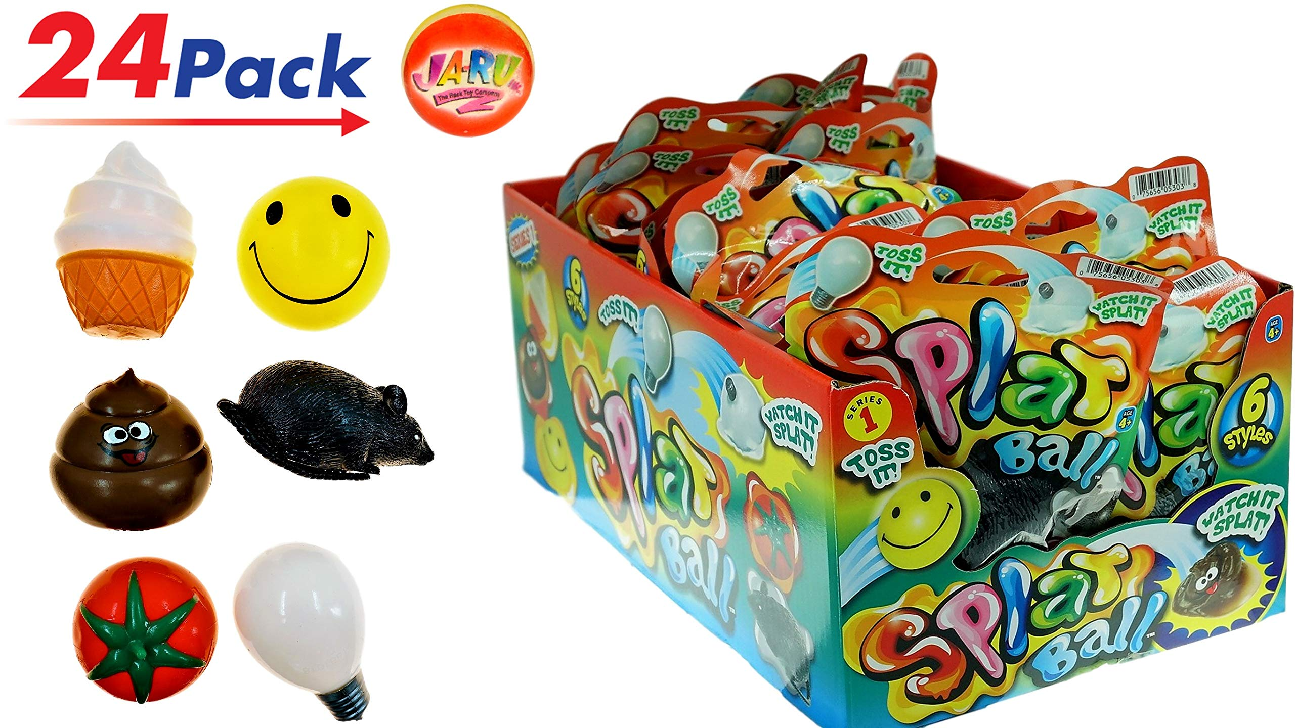 JA-RU Splat Ball Sticky & Stretchy (Pack of 24 with 1 Display Box) and 1 Bouncy Ball Rat, Poo, Happy Face, Bulb, Tomato, Ice Cream. N5303-24p