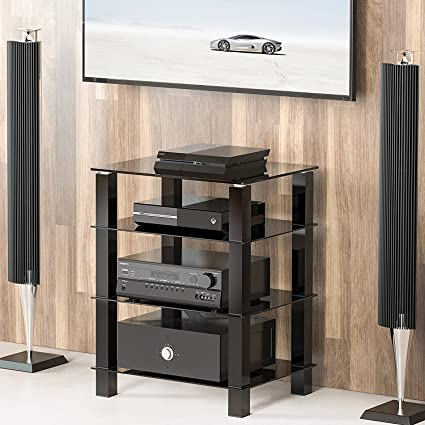FITUEYES 4 Tier Media Component Stand Audio Cabinet With Glass Shelf  For/Apple Tv