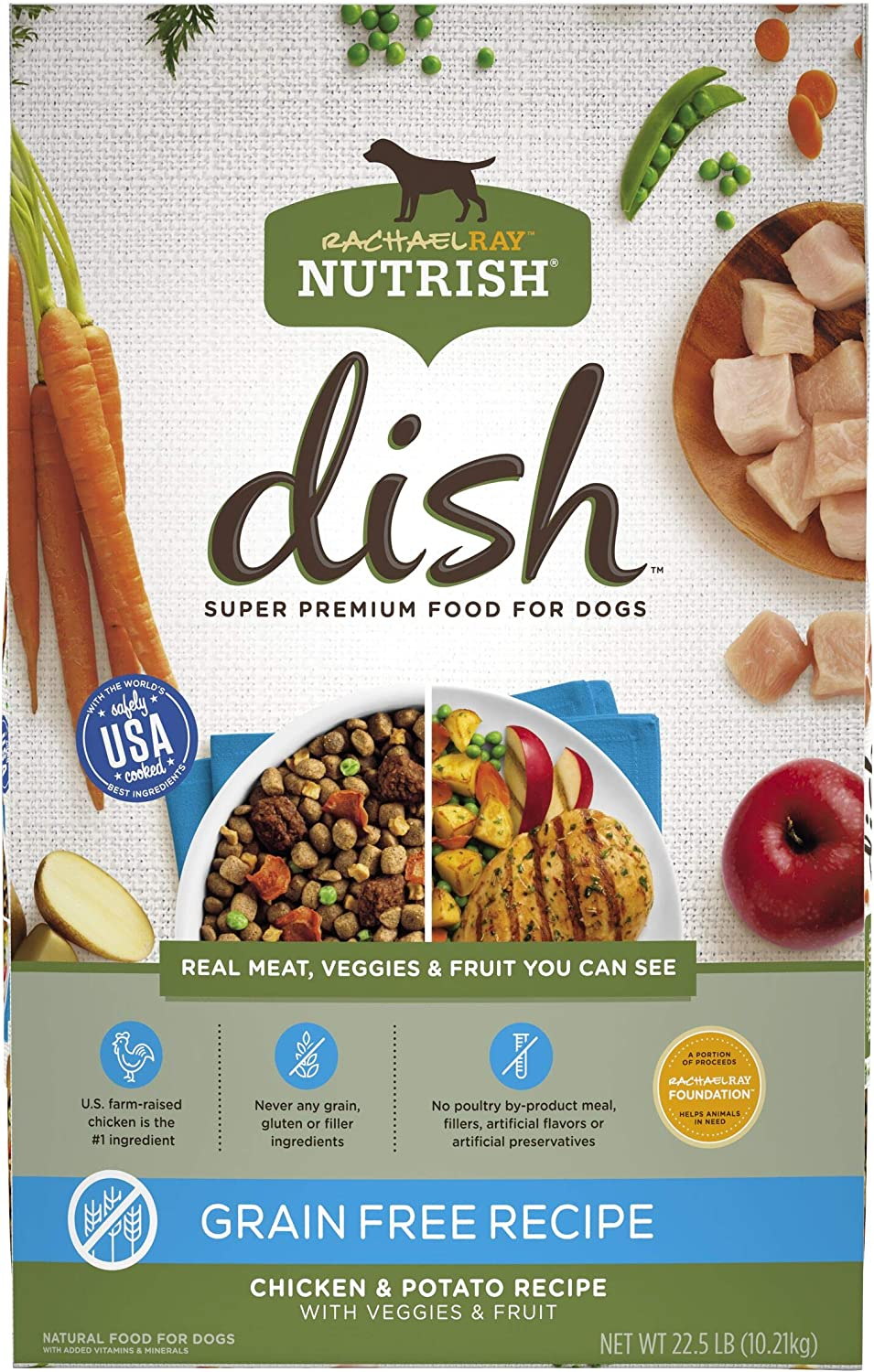 Rachael Ray Nutrish Dish Premium Natural Dry Dog Food, Chicken & Potato Recipe with Veggies & Fruit, 22.5 Pounds, Grain Free