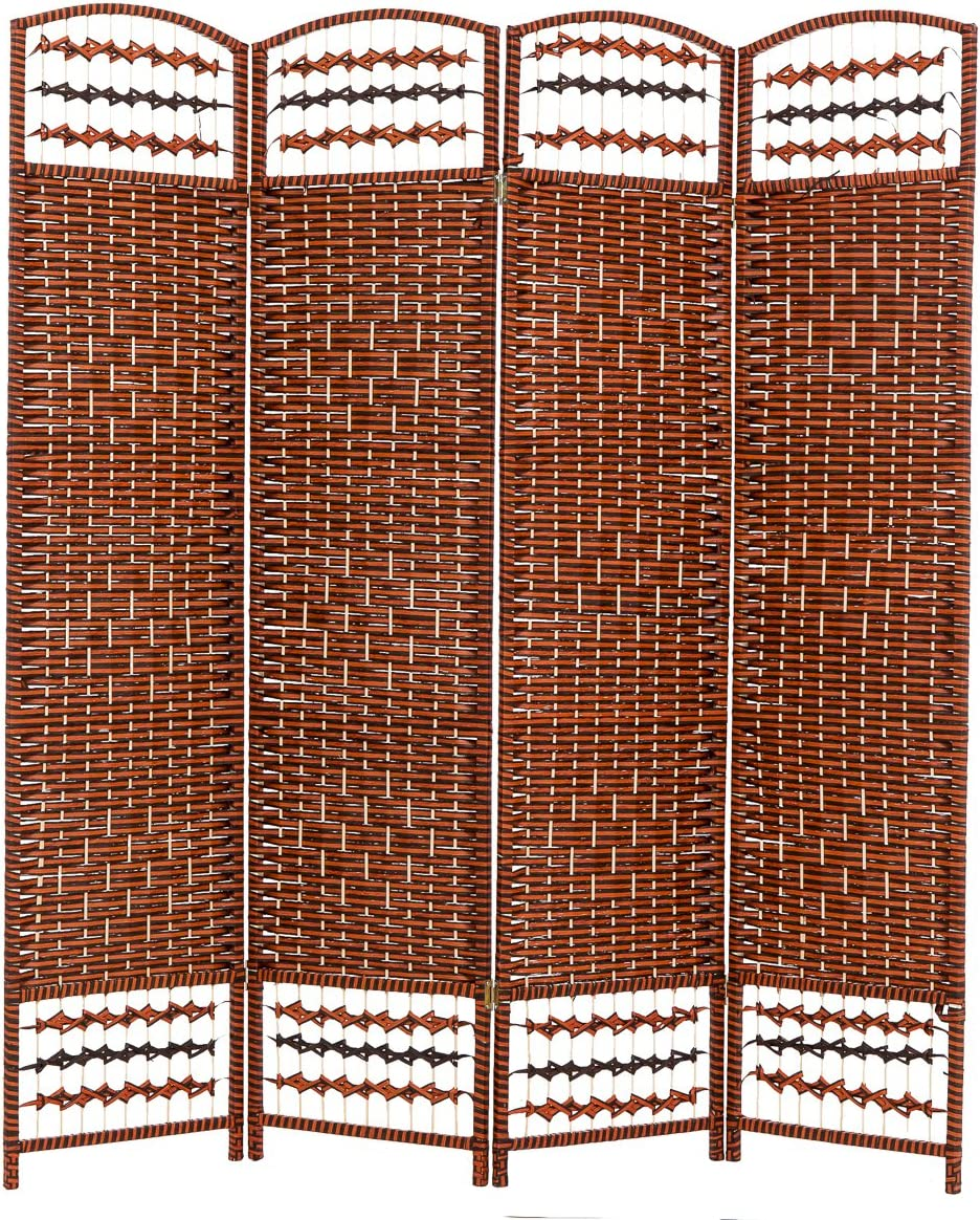 THY COLLECTIBLES Decorative Freestanding Woven Bamboo 4 Panels Hinged Privacy Panel Screen Portable Folding Room Divider 62 W X 68 H Red Orange