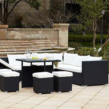 Concept-Usine Fidji Noir/Blanc : salon de jardin encastrable en ...