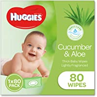 HUGGIES Baby Wipes Soft Pack Cucumber and Aloe, 80 Wipes