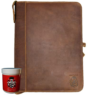 well-wreapped BARON of MALTZAHN Document ring folder Conference folder HELMHOLTZ of leather + leather care