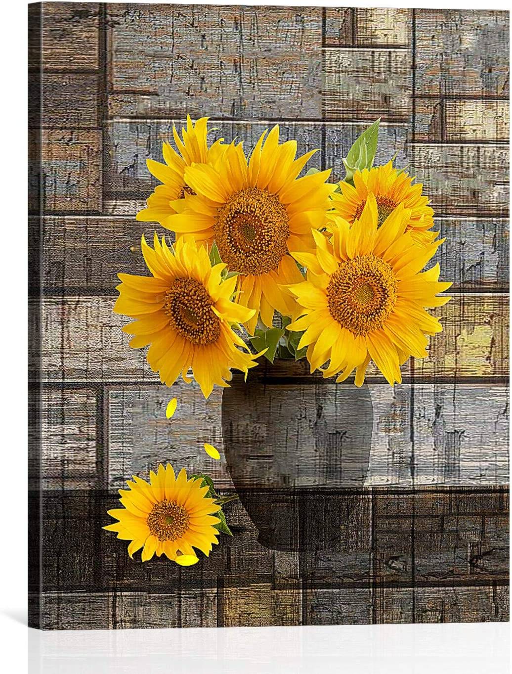WISH TREE Sunflower Canvas Wall Art Vintage Farmhouse Sunflower Decor for  Home Bathroom Living Room Ready To Hang12x 12 inch