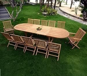 Mobiliario de jardín XXL en teca en bruto: conjunto Sumatra: Amazon.es: Jardín