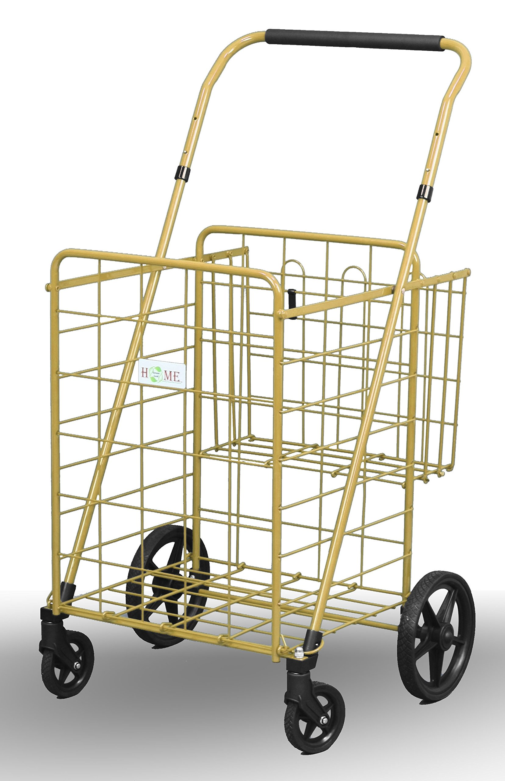 Uniware 1210-GD Shopping Cart with Back Basket, 23.5'' x 25.5'' x 42'', Super Large, Gold