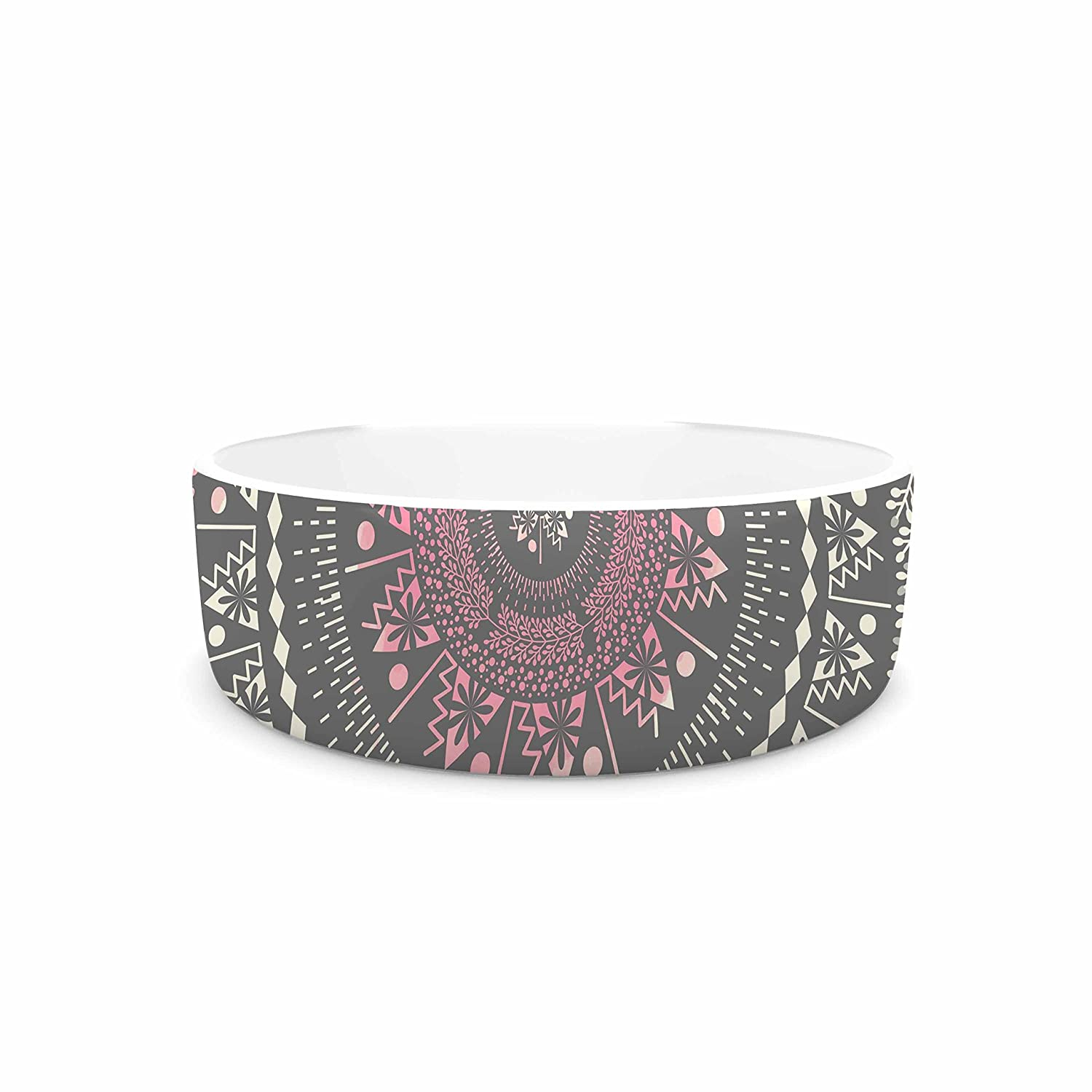 7\ KESS InHouse Famenxt Culture Cut Boho Mandala  Pink Ilustration Pet Bowl, 7