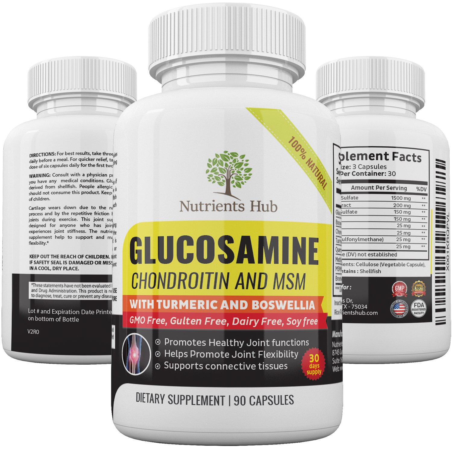 Glucosamine Chondroitin Turmeric MSM Boswellia - Joint Pain Relief Supplement - Best Anti-Inflammatory & Antioxidant Pills for Your Back, Knees, Hands & More - GMO & Gluten Free by Nutrients Hub