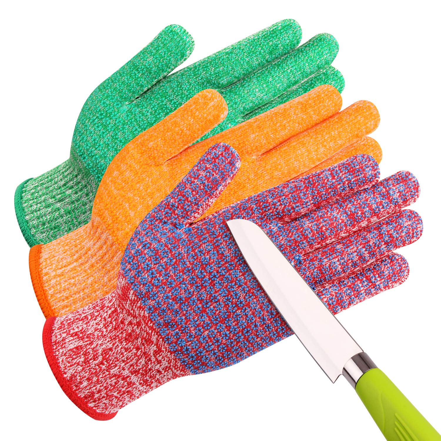 JH C0224LA Cut Resistant Gloves: 3 Color With Red For Meat, Green For Veg, Yellow For Fruit- High Performance Cut Level 5, Double Layers Silicone Coating, Food Grade No Cross Contam, 3Pairs (Large)