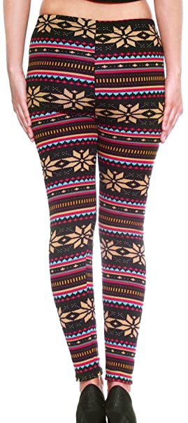 Women/girls Leggings Warm Tights for, Snowflakes Pattern, Striped ...
