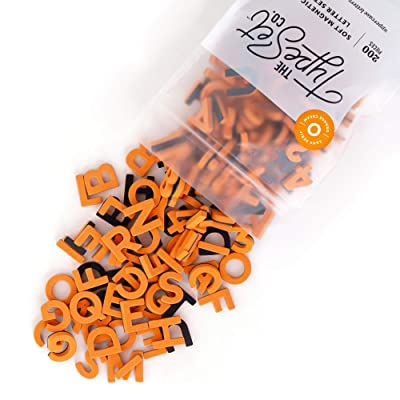 The Type Set Co. Modern Magnetic Letters for Home Decor • 200pcs Set with 1-inch Tall Uppercase Letters, Numbers, Symbols, and Punctuation Made with a Soft EVA Foam in Sans Serif Font (Orange Cream): Toys & Games