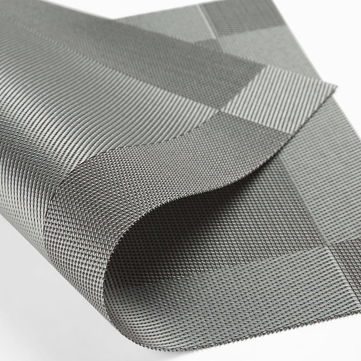 Lot de 8 Sets de r/ésistant /à la chaleur antid/érapant lavable ronde en PVC Sets de table Set de table en vinyle tiss/é AAndrea Sets de table 30,5/x 45,7/cm