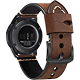 22mm Watch Band, Fintie Vintage Genuine Leather Replacement Strap with Stainless Steel Buckle for Samsung Galaxy Watch 46mm / Gear S3 Frontier/Classic and Other 22mm Lug Width Watches, Coffee