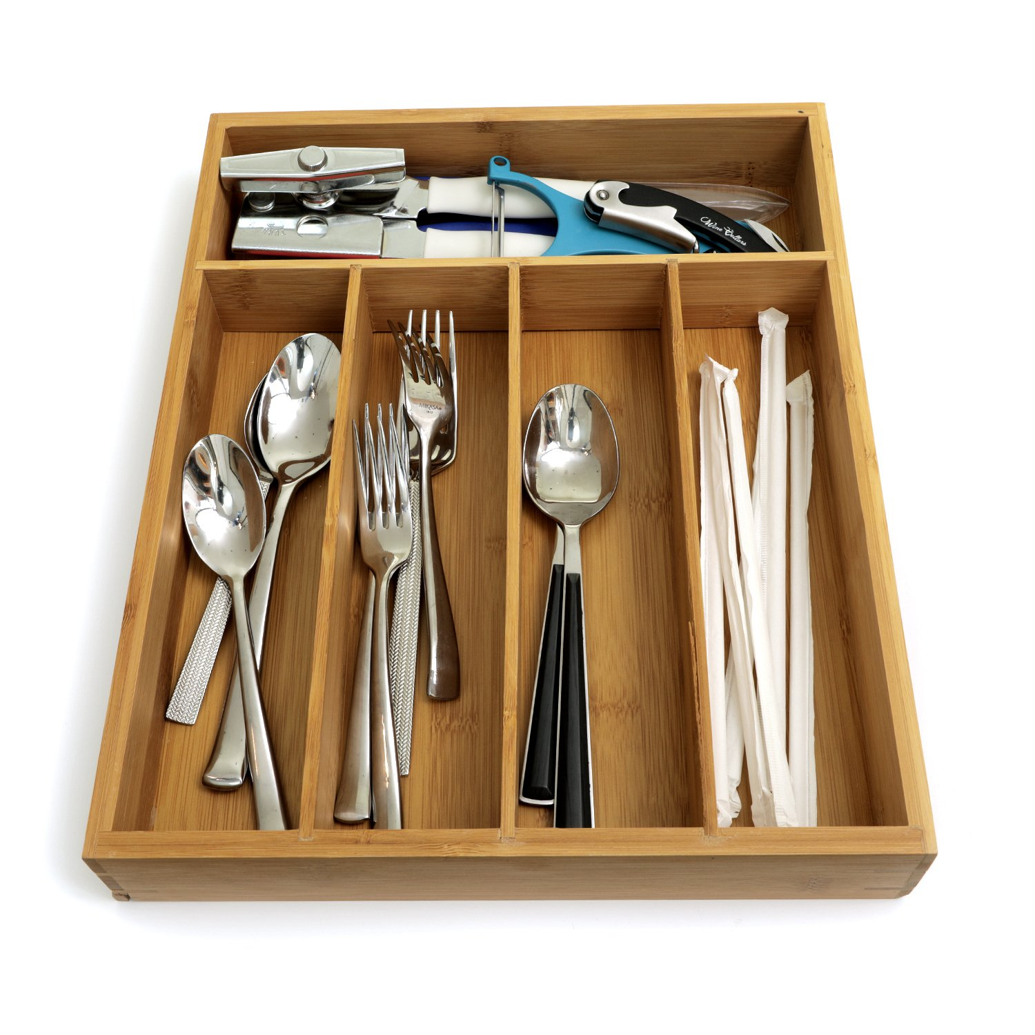 Zanzer Premium Organic Bamboo Cutlery Organizer - Adjustable with 5 Compartments Storage Dividers | Multifunctional and Perfect Holder for Kitchen Utensil, Flatware, Silverware - 14'' x 11.5'' x 2.25''