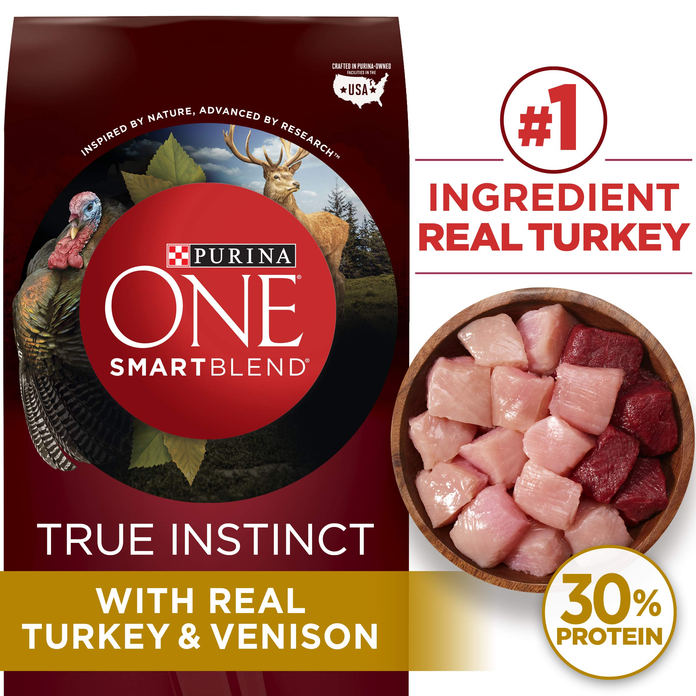 Purina ONE High Protein Natural Dry Dog Food, SmartBlend True Instinct With Real Turkey & Venison - 27.5 lb. Bag by Purina ONE