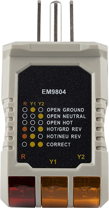 [DIAGRAM_38EU]  Power Gear 3 Wire Receptacle Tester, Outlet Tester, 6 Visual Indications,  Light Indicator, UL Listed, Gray, 50542 - Voltage Testers - Amazon.com | Light Receptacle Wiring |  | Amazon.com