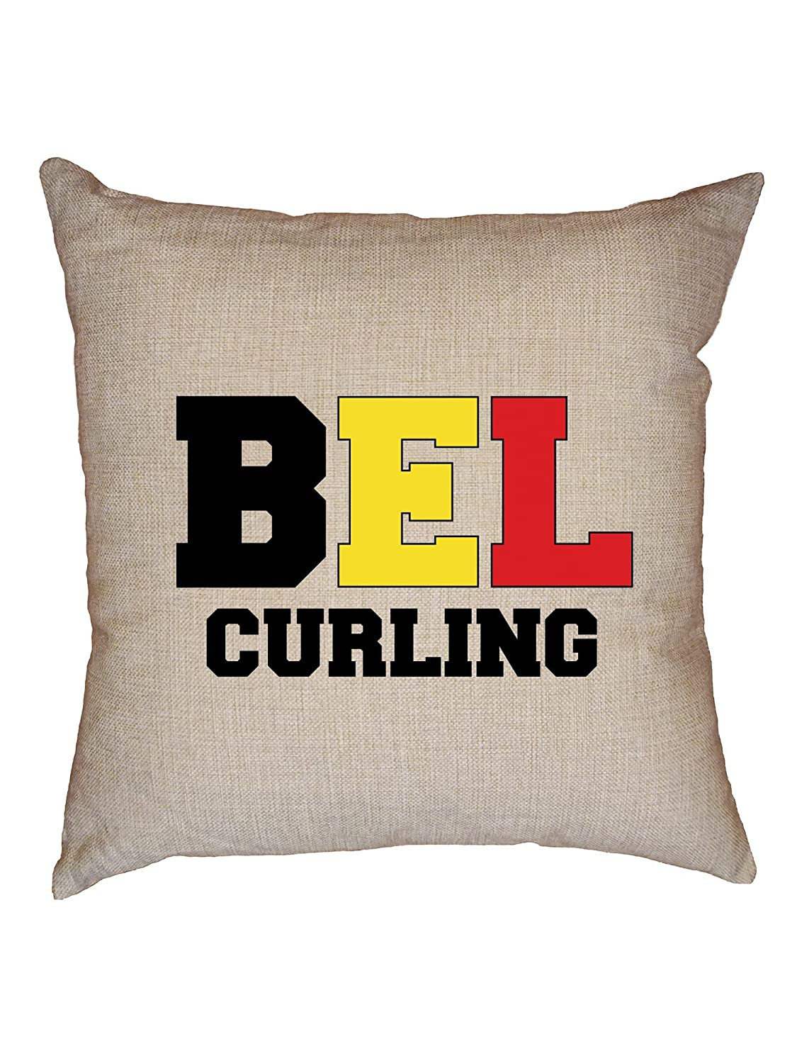 HollywoodスレッドBelgian Curling – Winter Olympic – Belフラグ装飾リネンスロークッション枕ケースwith挿入   B07FN2ND2J