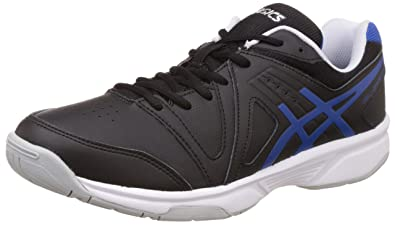 ASICS Men's Gel-Gamepoint Black, Blue and White Tennis Shoes - 6 UK/