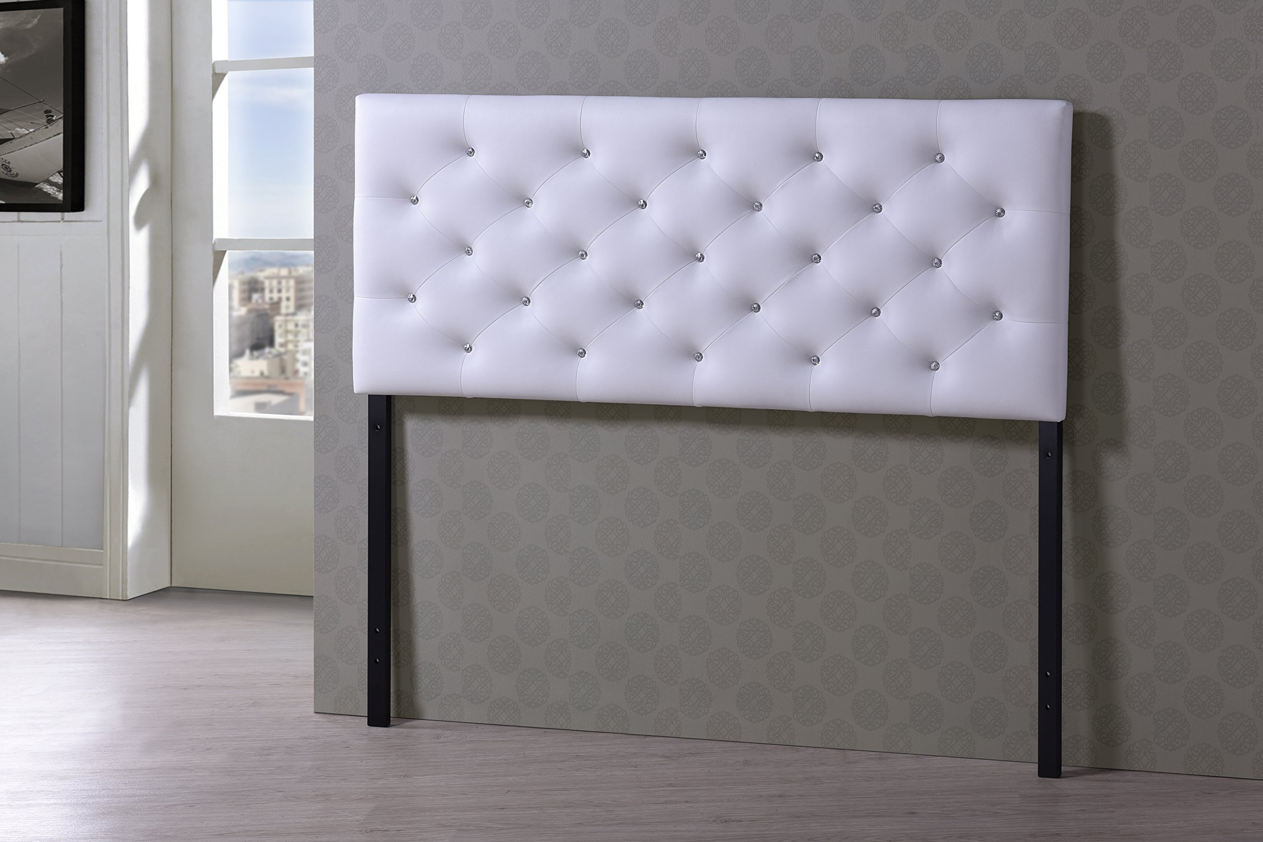 Baxton Studio Viviana Modern & Contemporary Faux Leather Upholstered Button Tufted Headboard, Queen, White by Baxton Studio