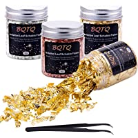 BQTQ 4 Bottles Foil Flakes Imitation Gold, Silver, Copper Metallic Leaf with a Tweezers for Nails, Painting, Crafts…