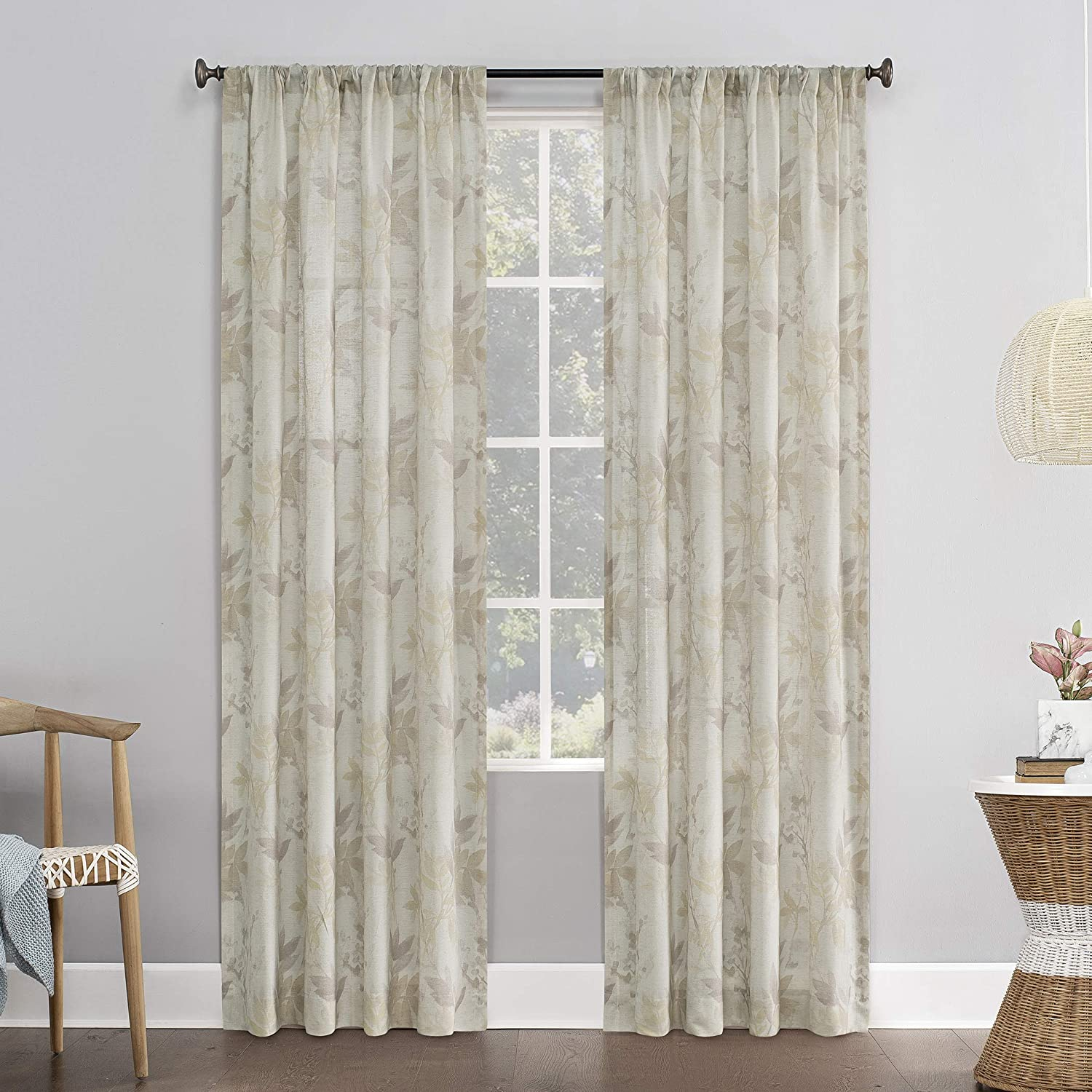 No 918 Hilary Watercolor Floral Linen Blend Semi Sheer Rod Pocket Curtain Panel 54 X 63 Blush Pink Home Kitchen