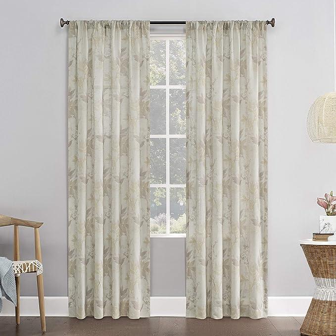 Amazon Com No 918 Hilary Watercolor Floral Linen Blend Semi Sheer Rod Pocket Curtain Panel 54 X 63 Blush Pink Home Kitchen