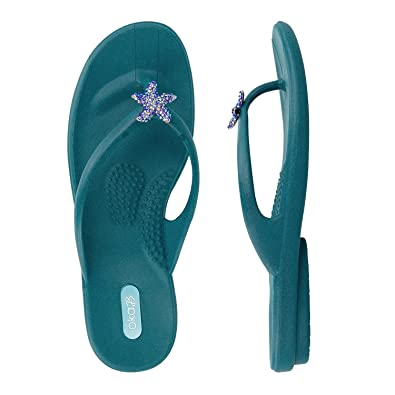 1c9b8bcab812 Image Unavailable. Image not available for. Color  Oka-B. Jaylin Peacock W Crystal  Starfish Womens Flip-Flop Size MD