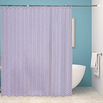 Fabric Shower Curtain Liner Thicker Set For BathroomGeometric Pattern Mildewproof Waterproof And Washable