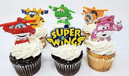 Super Amazon Com Super Hero Super Wings Birthday Cake Cupcake Topper Funny Birthday Cards Online Hetedamsfinfo