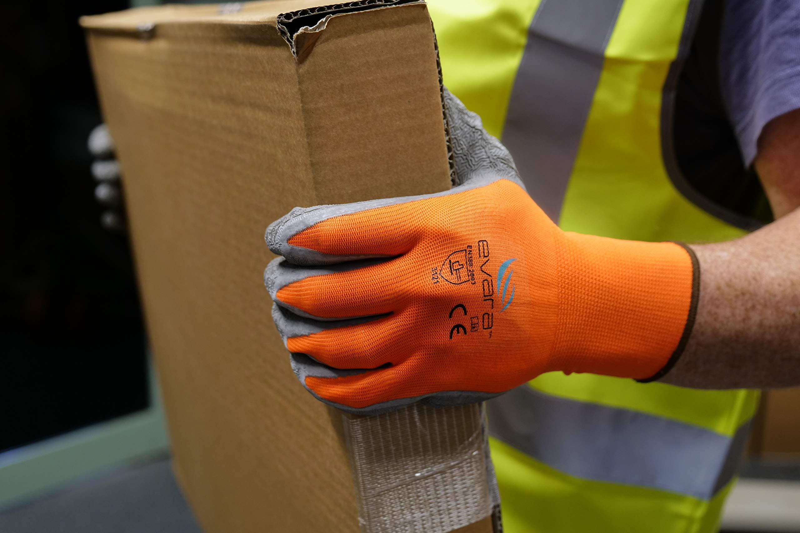 Tough Work and Gardening Gloves for Men and Women(12 pairs per pack) (Latex, Medium) Supreme Hi-vis orange with full thumb dipping by Evara by Evara (Image #3)