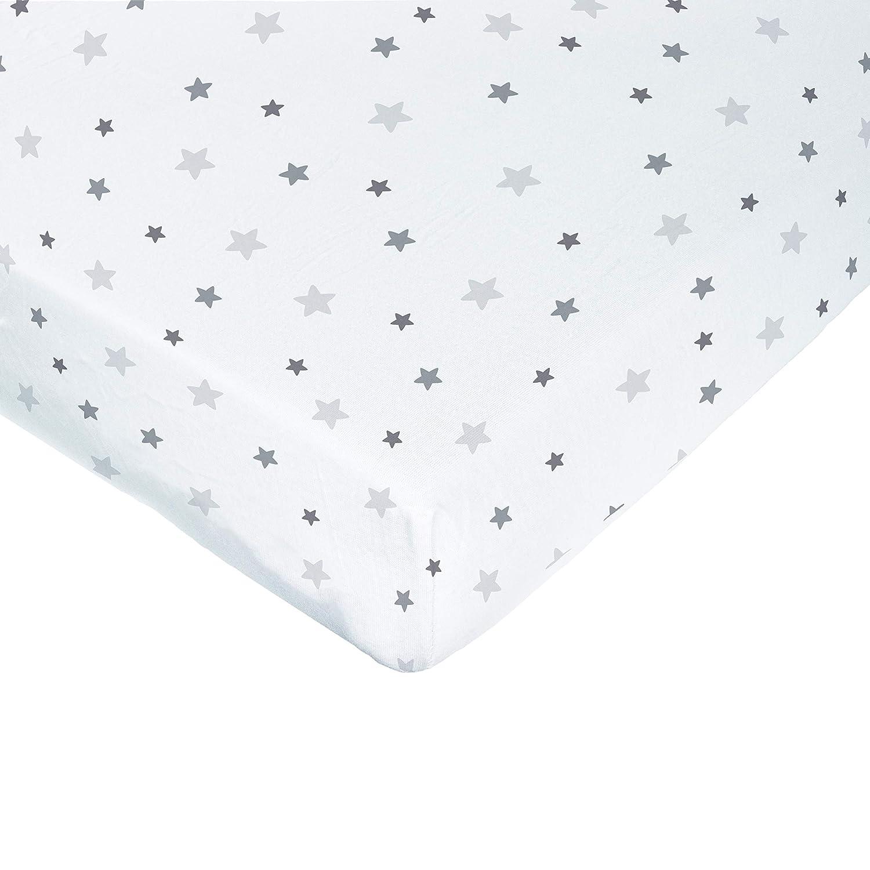 color Gris color blanco con estampado de estrellas 60 x 120 cm PMP-S/ábana bajera