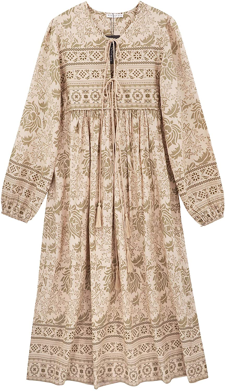 Cottagecore Dresses Aesthetic, Granny, Vintage R.Vivimos Womens Long Sleeve Floral Print Retro V Neck Tassel Bohemian Midi Dresses $29.99 AT vintagedancer.com