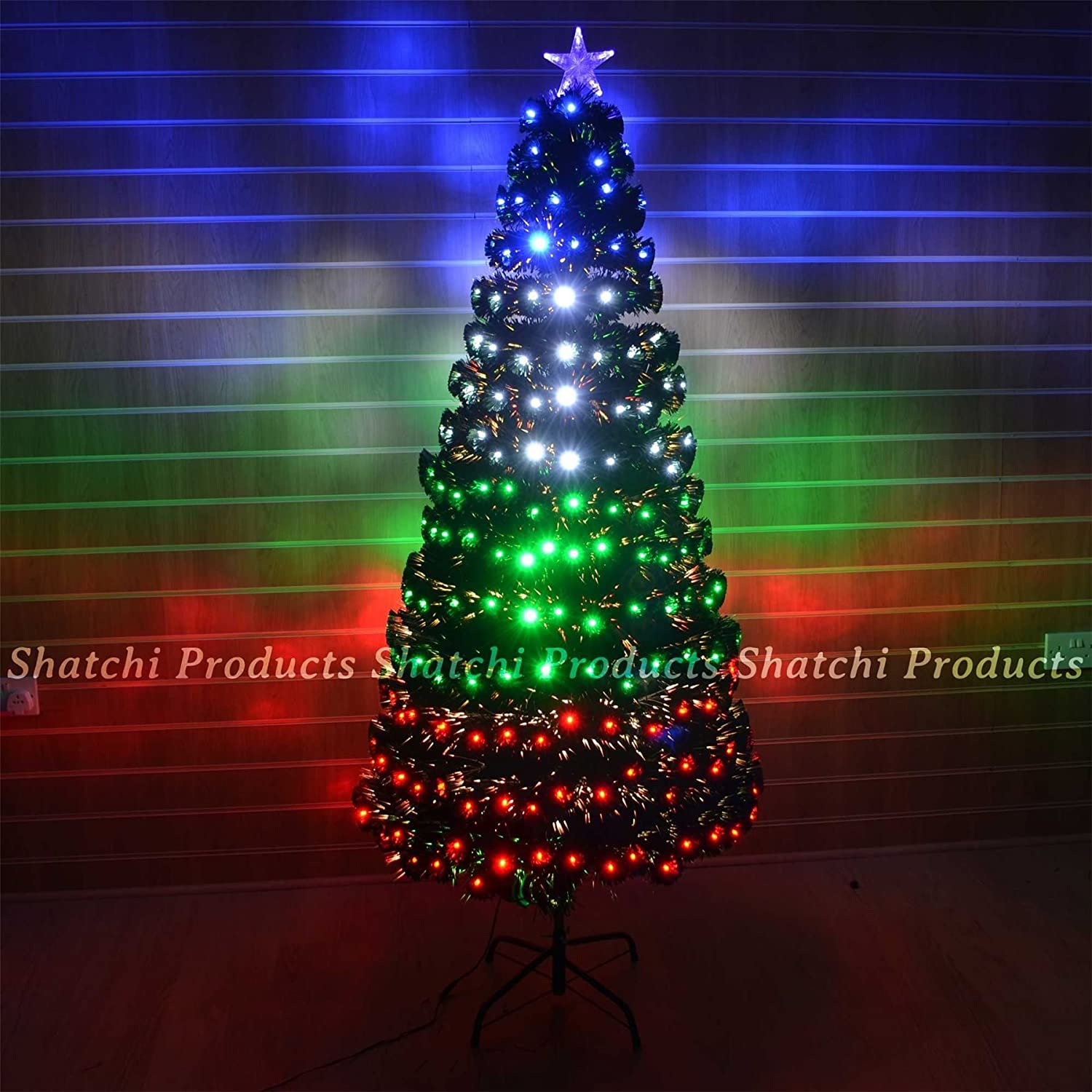 5ft 150cm LED Fibre Optic Christmas Tree Multi Colour Changing with Various Effects Xmas Decoration Shatchi Products