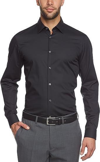 ARROW - Camisa Vestir Hombre, Color Negro, Talla 46: Amazon ...