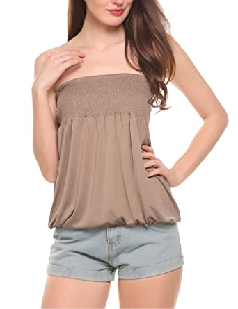 ad3a7350e2d Zeagoo Women s Sexy Strapless Pleated Clubwear Party Tube Top (Khaki ...