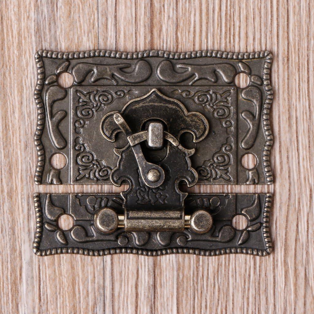 Qianqian56 Loquet de coffre en bois Style vintage Bronze vieilli 55 mm x 47 mm