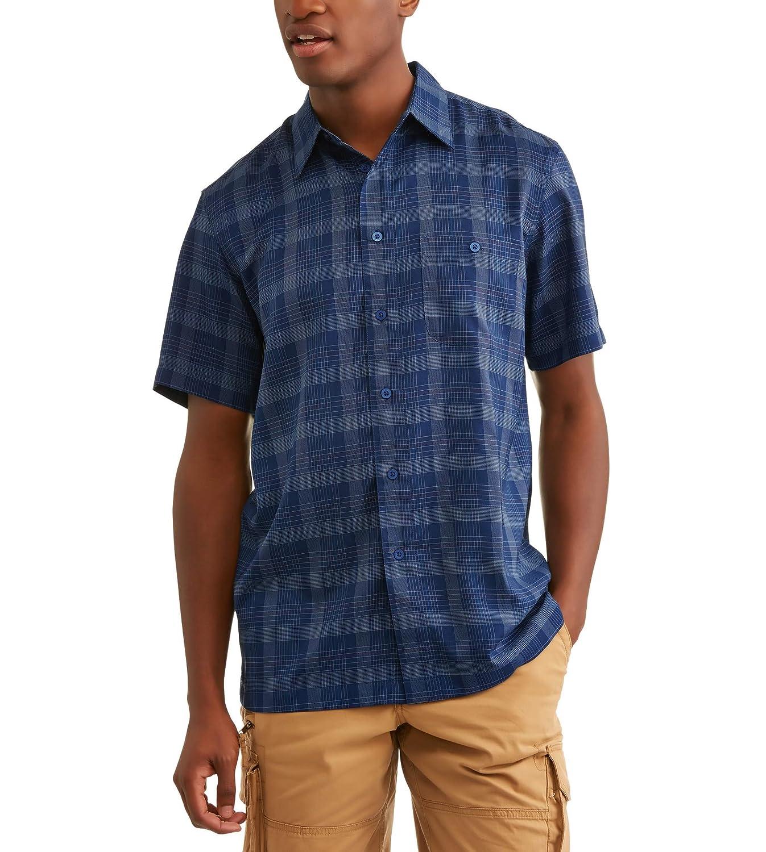 Small 34//36, Dark Dye Denim George Mens Short Sleeve Microfiber Shirt