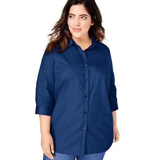 3c6405e06ce6a8 Woman Within Women's Plus Size Printed Three-Quarter Sleeve Perfect Shirt -  Evening Blue,