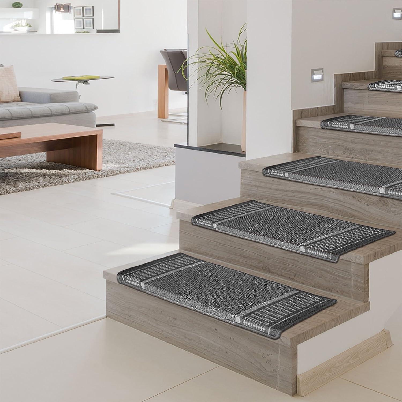 Green | 15 Piece Set No Shedding Promenade Collection Rectangular Flattening or Fraying Stair Pads Non-Slip Stair Mats casa pura Carpet Stair Treads