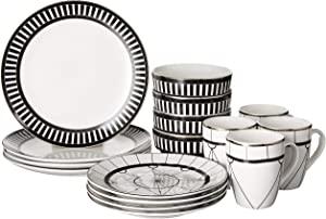 Elle Décor Dinnerware Set – 16-Piece Stoneware Party Collection w/ 4 Dinner Salad Plates, 4 Bowls & 4 Mugs – Gift Idea for Any Occasion, Black, Compass
