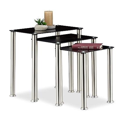 Tavolini Da Salotto Impilabili.Relaxdays Set 3 Tavolini Sovrapponibili Da Salotto Tavoli Impilabili Vetro A Specchio Struttura Robusta In Metallo Argento Nero Hxlxp 51 5 X
