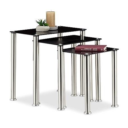 Relaxdays Set 3 Tavolini Sovrapponibili da Salotto, Tavoli Impilabili,  Vetro a Specchio, Struttura Robusta in Metallo, Nero