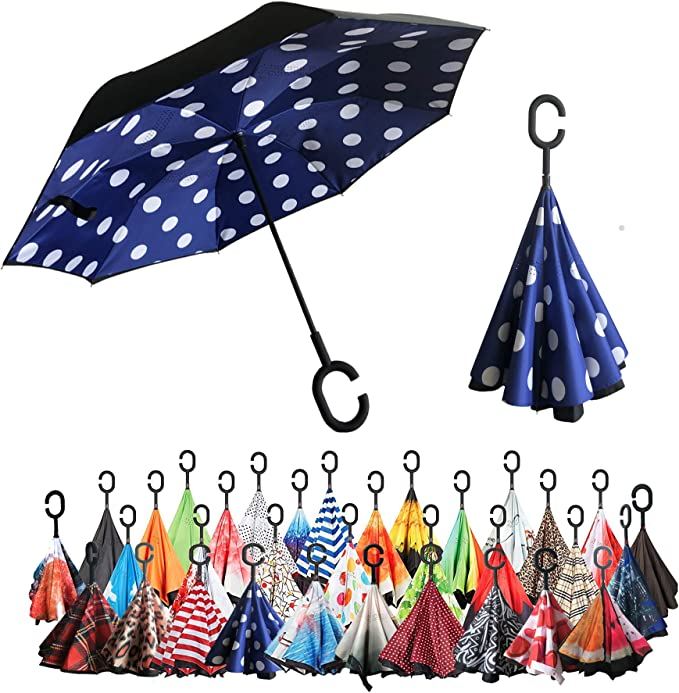 Little Dinosaurs And Trees Pattern Double Layer Windproof UV Protection Reverse Umbrella With C-Shaped Handle Upside-Down Inverted Umbrella For Car Rain Outdoor
