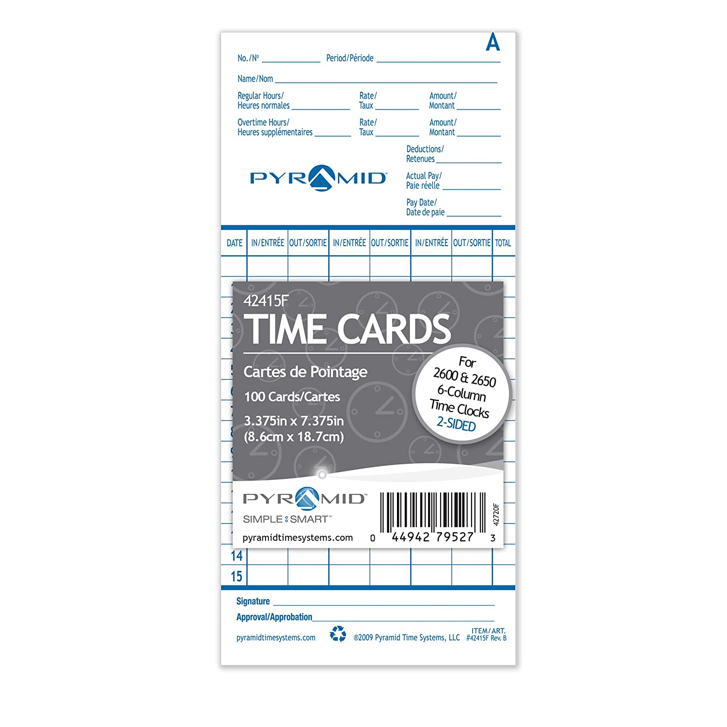 100 Pack Pyramid English//French Time Cards for 2600 and 2650 Time Clocks